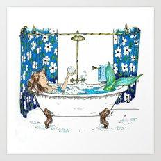 Bathing Mermaid Art Print