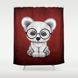 Cute Polar Bear Cub with Eye Glasses on Red Shower Curtain