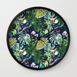 A realistic watercolor seamless large pattern of tropical leaves, flowers and birds Wall Clock