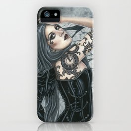 Gunmetal Gothic Angel With Tattoos iPhone Case