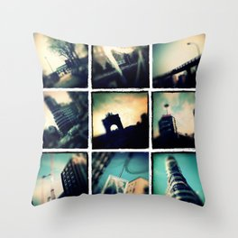 Collage Madrid, Spain Throw Pillow