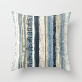 Distressed Blue and White Watercolor Stripe Throw Pillow