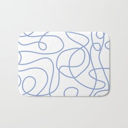 Doodle Line Art | Periwinkle Lines on White Background Bath Mat