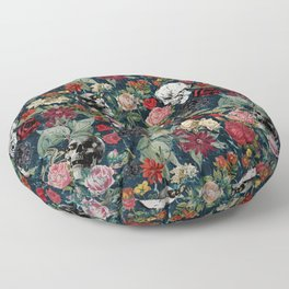 Distressed Floral with Skulls Pattern Floor Pillow