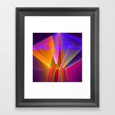 Neon merry-go-round, colourful fractal abstract Framed Art Print