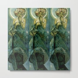 "Alphonse Mucha ""The Moon and the Stars Series: The Moon"" Metal Print"