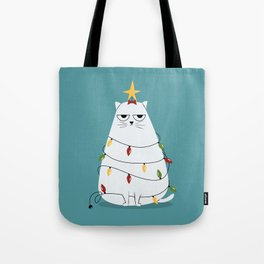 Grumpy Christmas Cat Tote Bag