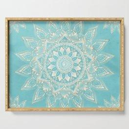 Elegant White Gold Mandala Sky Blue Design Serving Tray