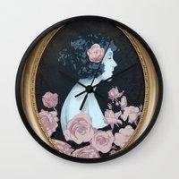helen green Wall Clocks featuring Helen by Mike Ferrari