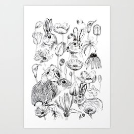 rabbits and flowers parties Art Print