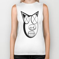 pig Biker Tanks featuring pig. by azyxz