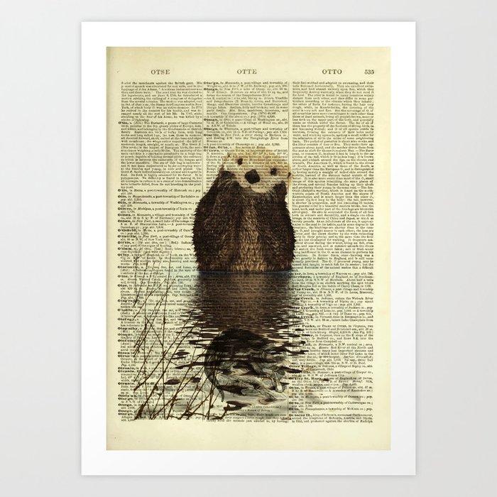 Otter in Love Art Print