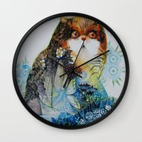 fairy Wall Clocks featuring Fairy - Cat by oxana zaika