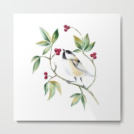 Chickadee on a tree! Metal Print