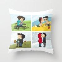 sterek Throw Pillows featuring Sterek kisses by agartaart