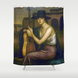 Classical Masterpiece 'La Guitarrista' by Julio Romero de Torres Shower Curtain