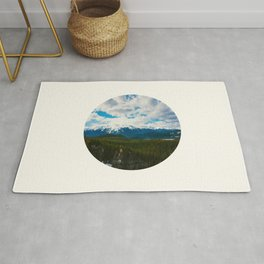Mid Century Modern Round Circle Photo Arctic Landscape In The Summer Pine Forest Snow Mountains Rug