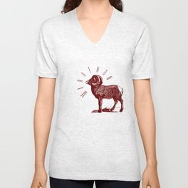 RAM TEE DARK RED Unisex V-Neck