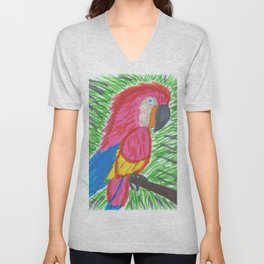 Pink Bird of Paradise Unisex V-Neck