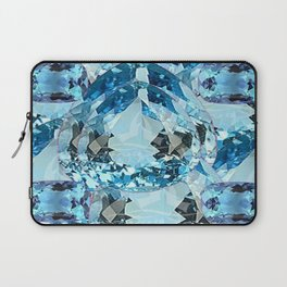 March Babies Blue Aquamarine Gems Abstract design. Laptop Sleeve