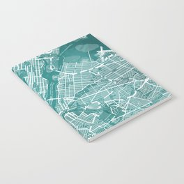 Turquoise Teal Wall Art Showing Manhattan New York City, Brooklyn and New Jersey Notebook
