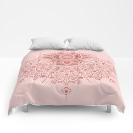 Sacred Lotus Mandala – Rose Gold & Blush Palette Comforters