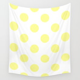 Large Polka Dots - Pastel Yellow on White Wall Tapestry