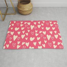 Valentines Cute Hearts Pink #Valentines Rug