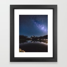 Summer Stars - Galaxy Mountain Reflection - Nature Photography Framed Art Print