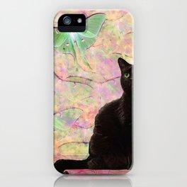 Luna Cat Pink & Green iPhone Case