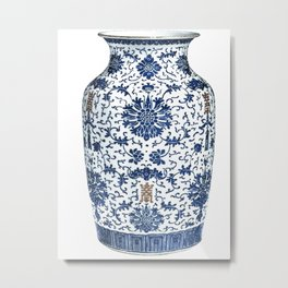 Blue & White Chinoiserie Porcelain Vase with Chrysanthemum Metal Print
