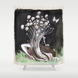 Empire of Mushrooms: Flammulina Velutipes Shower Curtain