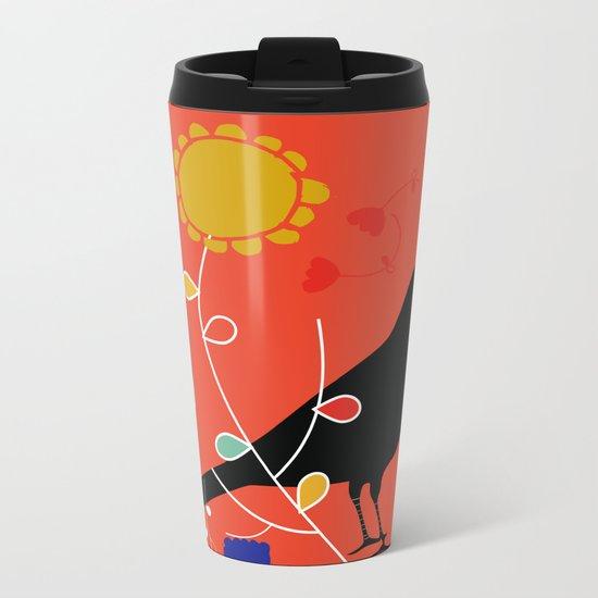 Black Bird orange Metal Travel Mug