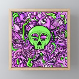 Doodle Skull Pink Framed Mini Art Print