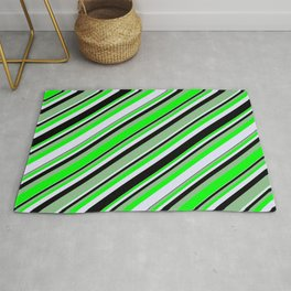 Dark Sea Green, Lime, Lavender, and Black Colored Lines/Stripes Pattern Rug