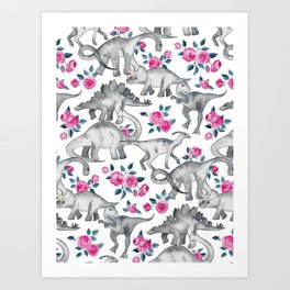 Dinosaurs and Roses - white Art Print
