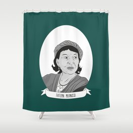 Fatema Mernissi Illustrated Portrait Shower Curtain