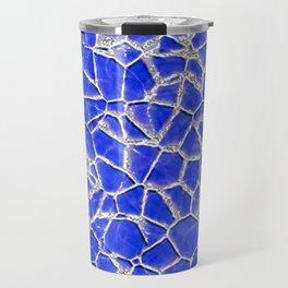 Blue broken glass texture Travel Mug