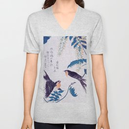 Swallows and Wisteria B Unisex V-Neck