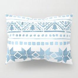 White & Blue Nordic Pattern  Pillow Sham