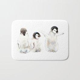 Playful Penguin Chicks - Watercolor Painting Bath Mat