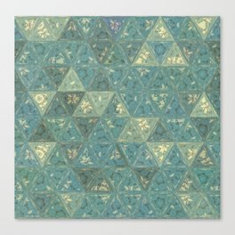 Blue and Beige Triangles Canvas Print