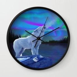 Arctic Prayer - White Wolf and Aurora Wall Clock