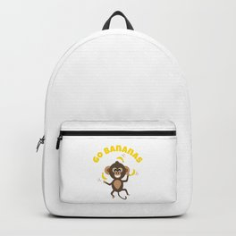 Go Bananas and Cute Animal Monkey Juggling with Yellow Text Backpack