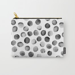 Black Watercolor Dots Carry-All Pouch
