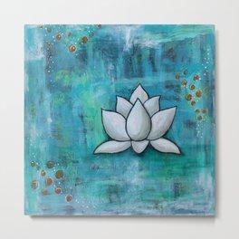 Lotus in Blue Metal Print