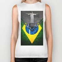 brazil Biker Tanks featuring Flags - Brazil by Ale Ibanez
