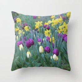 Spring Tulip Garden Throw Pillow