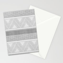 Dutch Wax Tribal Print in Grey Stationery Cards