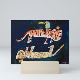 Tiger, Cheetah, Toucan Painting Mini Art Print